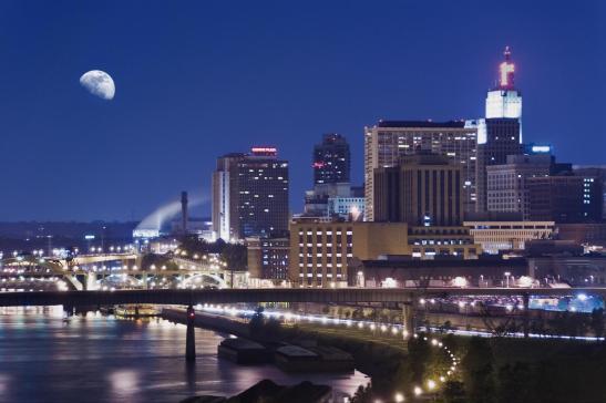 Minneapolis downtown/ University at night